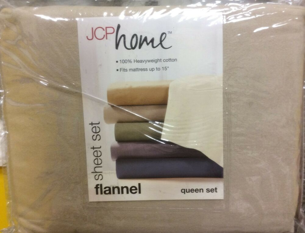 Brand New Jcp Home Flannel Queen Size Sheet Set Color Flax