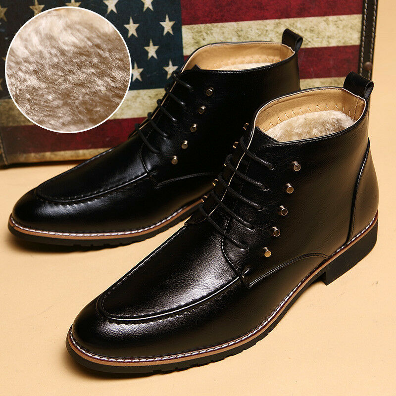s winter warm casual leather ankle boots formal dress