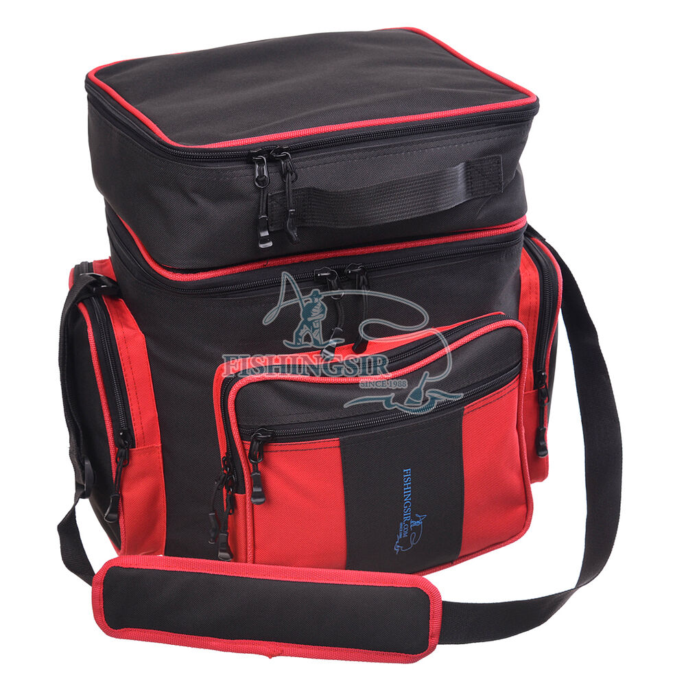 Outdoor fishing tackle bag waist pack black red tools for Fishing backpack tackle bag