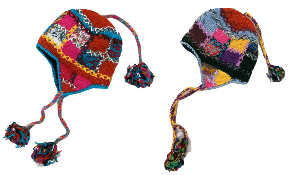 1f73c482405 FAIR TRADE Hand Knitted Funky Patchwork Woolen Ski Hat Polar Fleece Lined  UNISEX