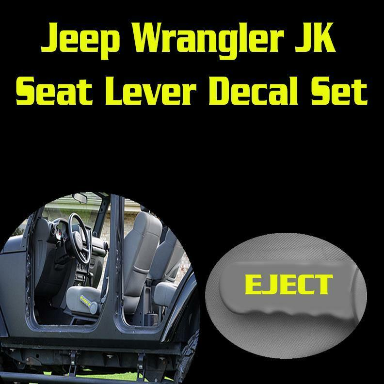 Jeep Wrangler Replacement Soft Top >> Jeep Wrangler JK Seat Lever Eject Vinyl Decal Set Sticker Funny | eBay