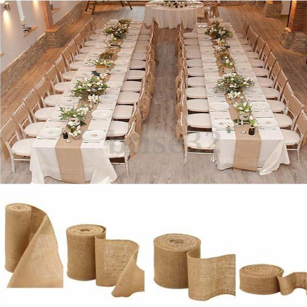 Burlap Wedding Altar: 10M Vintage Table Runner Jute Burlap Hessian Ribbon