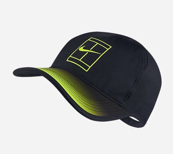 Details about NikeCourt Aerobill Grand Adjustable Tennis Hat Black Volt  864099-010 3794a06892a
