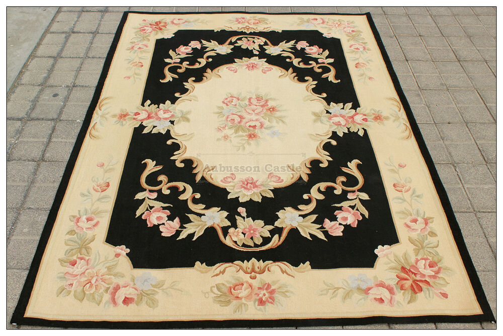 4x6 aubusson area rug shabby french chic home decor wool carpet black cream pink ebay. Black Bedroom Furniture Sets. Home Design Ideas