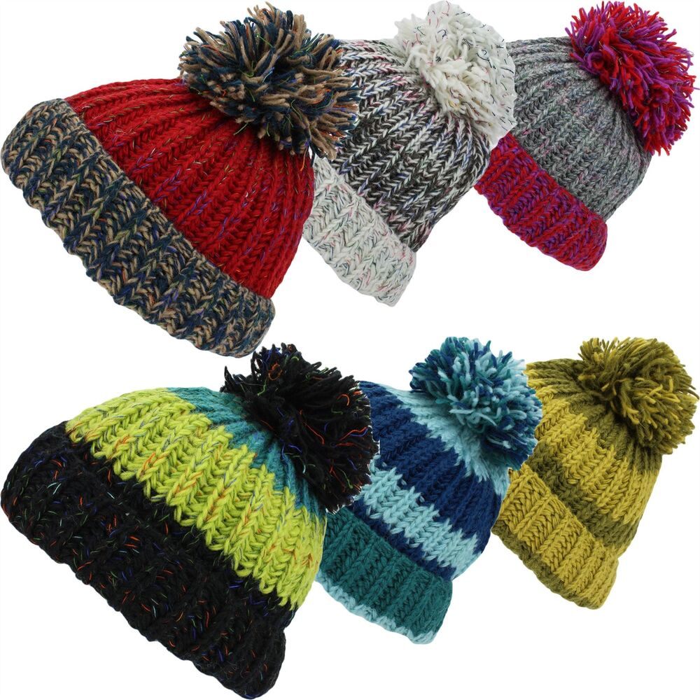 a59a1315d63 Details about SLOUCH BEANIE BOBBLE HAT CHUNKY WOOL KNIT TURN UP BRIM FLEECE  LINED BAGGY