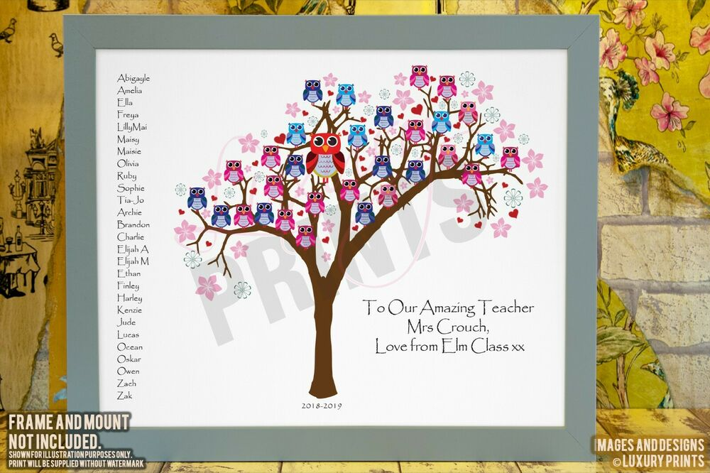 Personalised TEACHER THANK YOU CLASS TREE OWL Picture ...