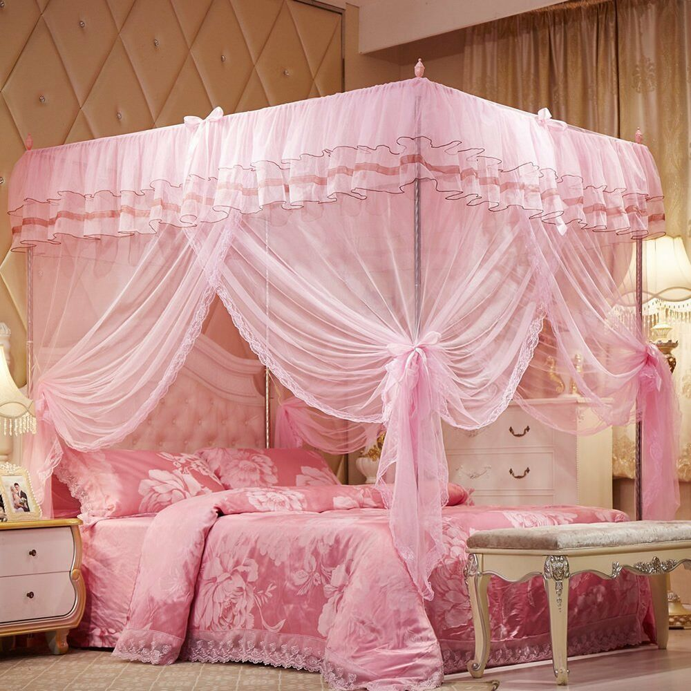 Princess lace bed canopy mosquito net poster ruffles pink for Bed decoration with net