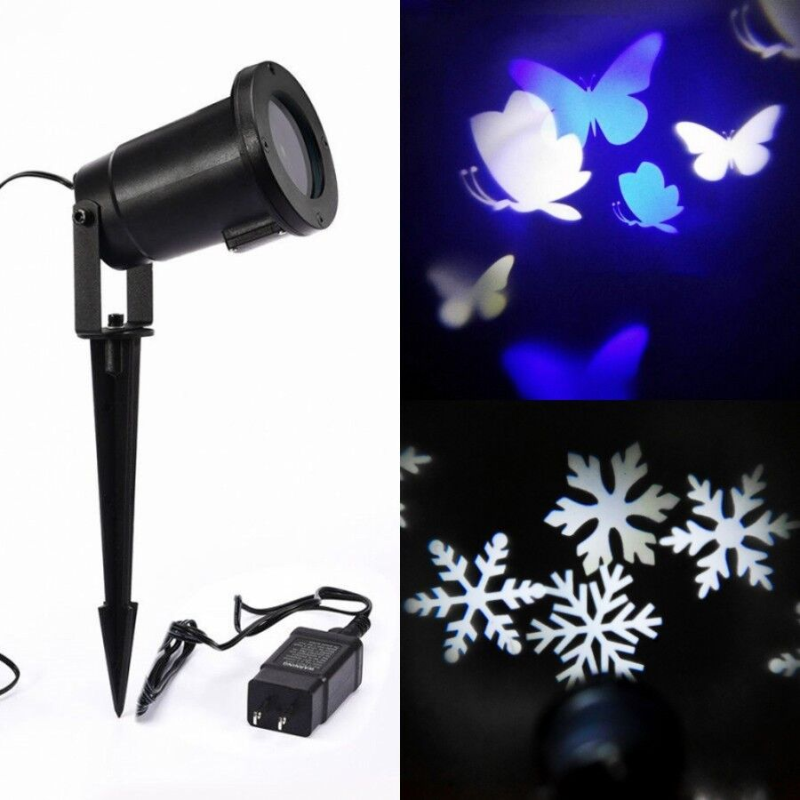 romatic led snow butterfly night light projector effect. Black Bedroom Furniture Sets. Home Design Ideas