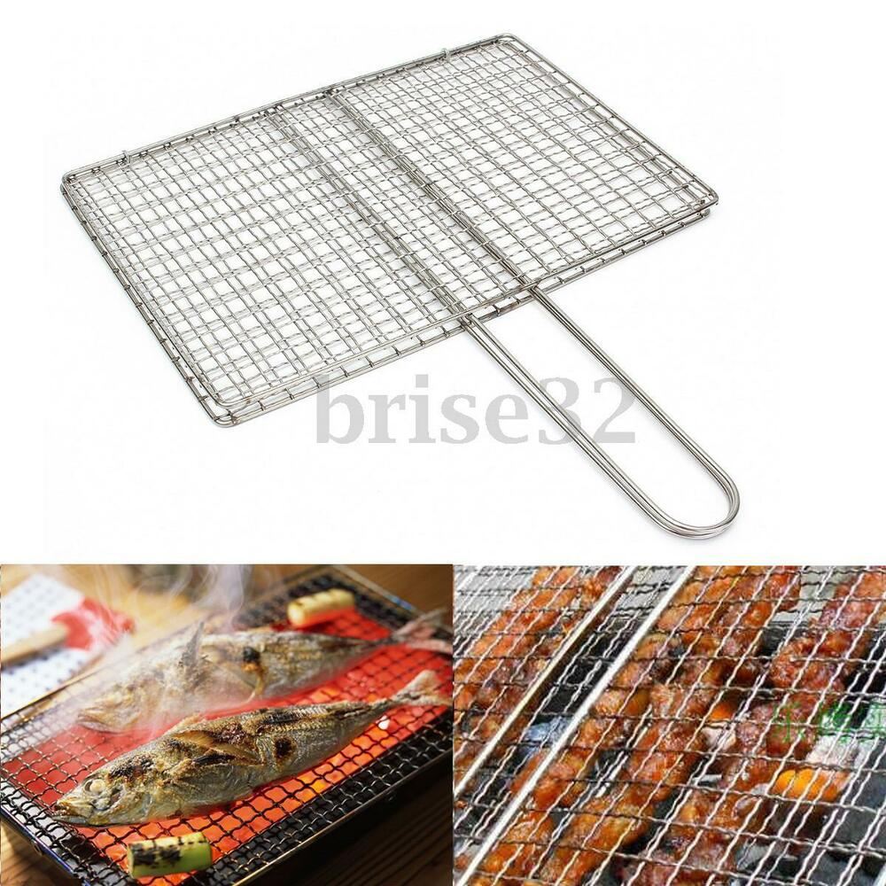 stainless steel bbq fish meat net barbecue grill mesh wire clamp outdoor picnic ebay. Black Bedroom Furniture Sets. Home Design Ideas