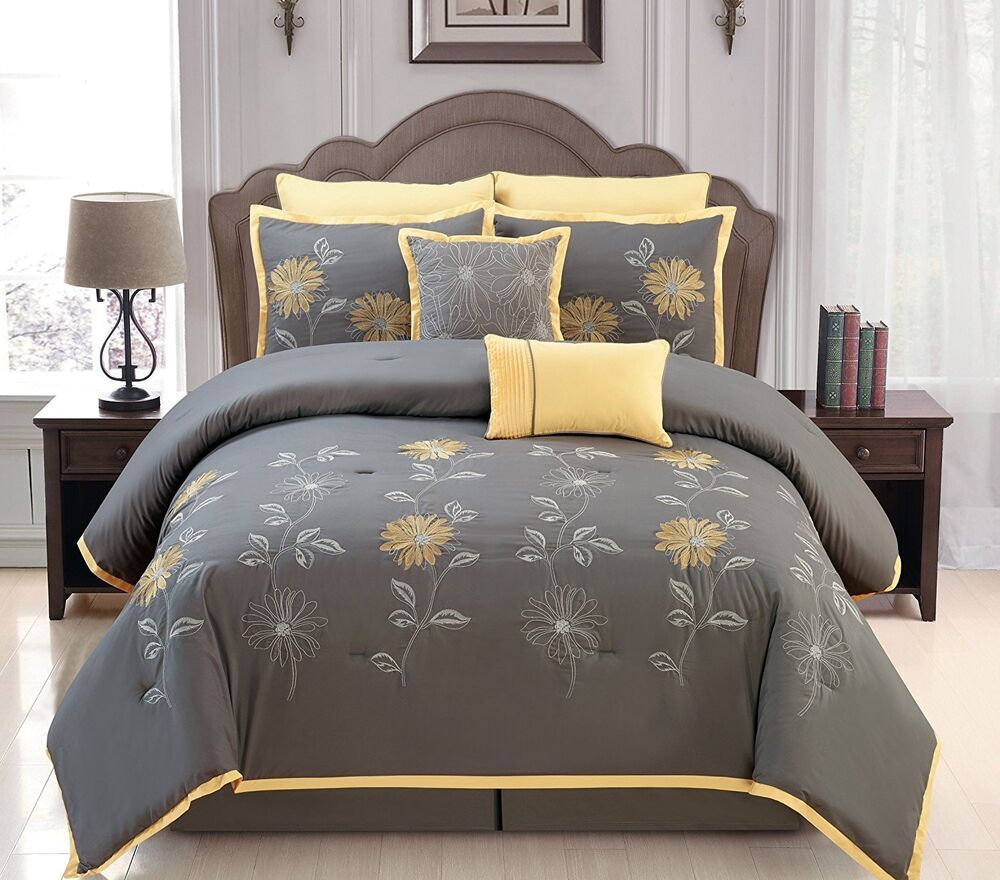 Luxurious 8 Pcs Embroidery Bed In A Bag Queen Size Yellow