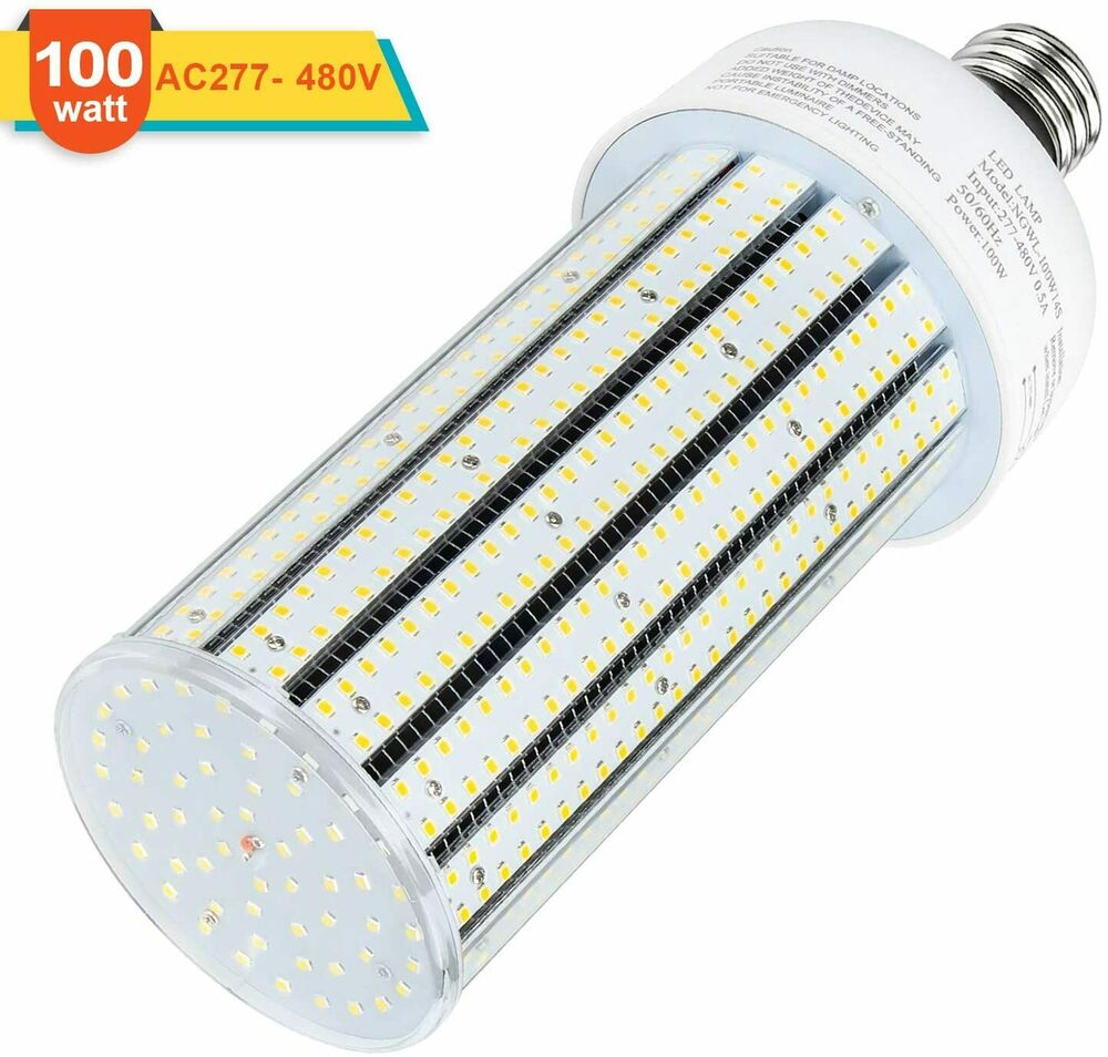 480Volt 347V LED Corn Cob 100Watt Replace 400W MHL/HID