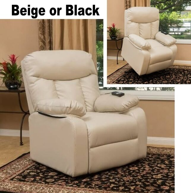 Power Lift Recliners Beige Or Black Leather Arm Chair