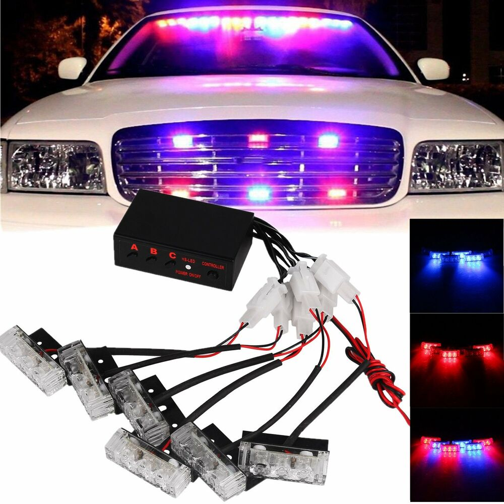 car 18 led red blue beacon flash light bar hazard police strobe warning lamp 12v ebay. Black Bedroom Furniture Sets. Home Design Ideas