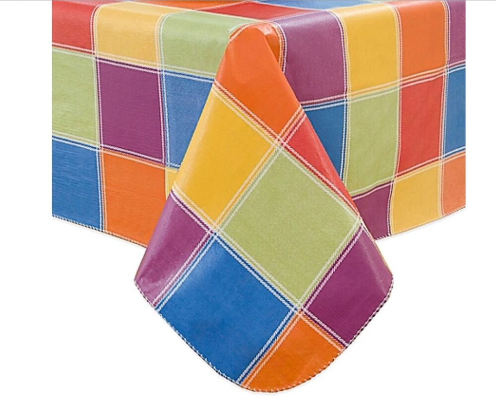 Colorful Checks Checkered Vinyl Tablecloth 60 X 84 Oblong