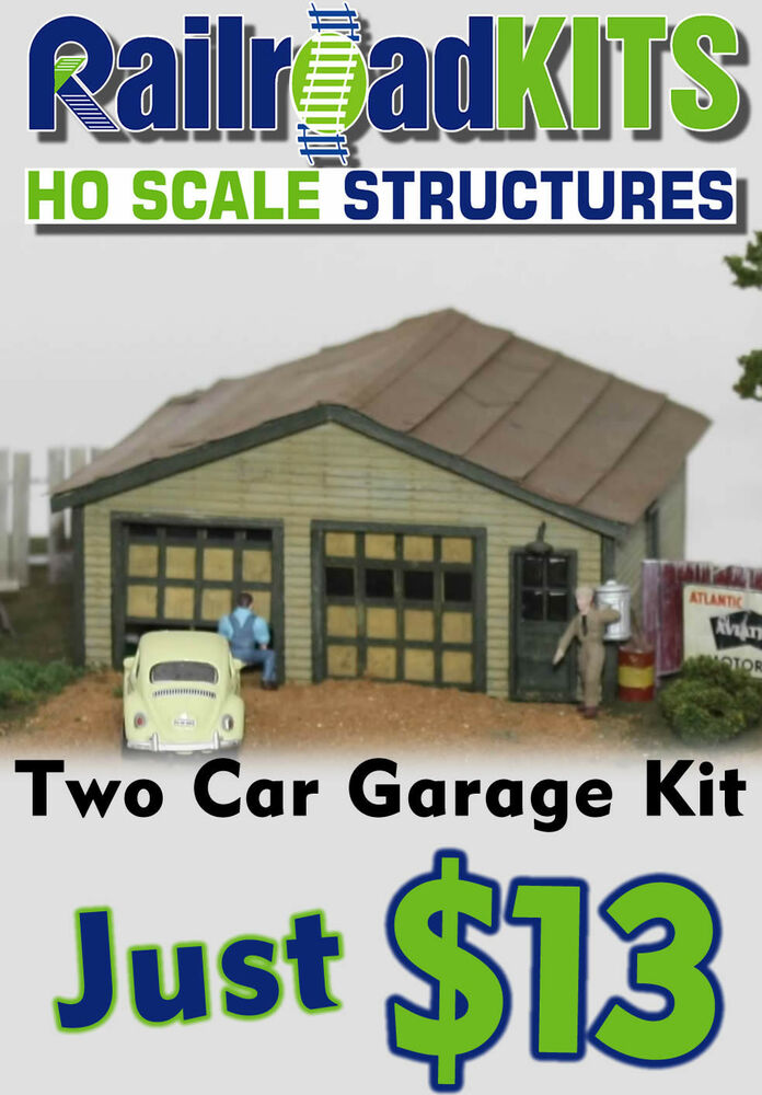 two car garage ho scale by railroad kits 1950 39 s style value lasercut wood ebay. Black Bedroom Furniture Sets. Home Design Ideas
