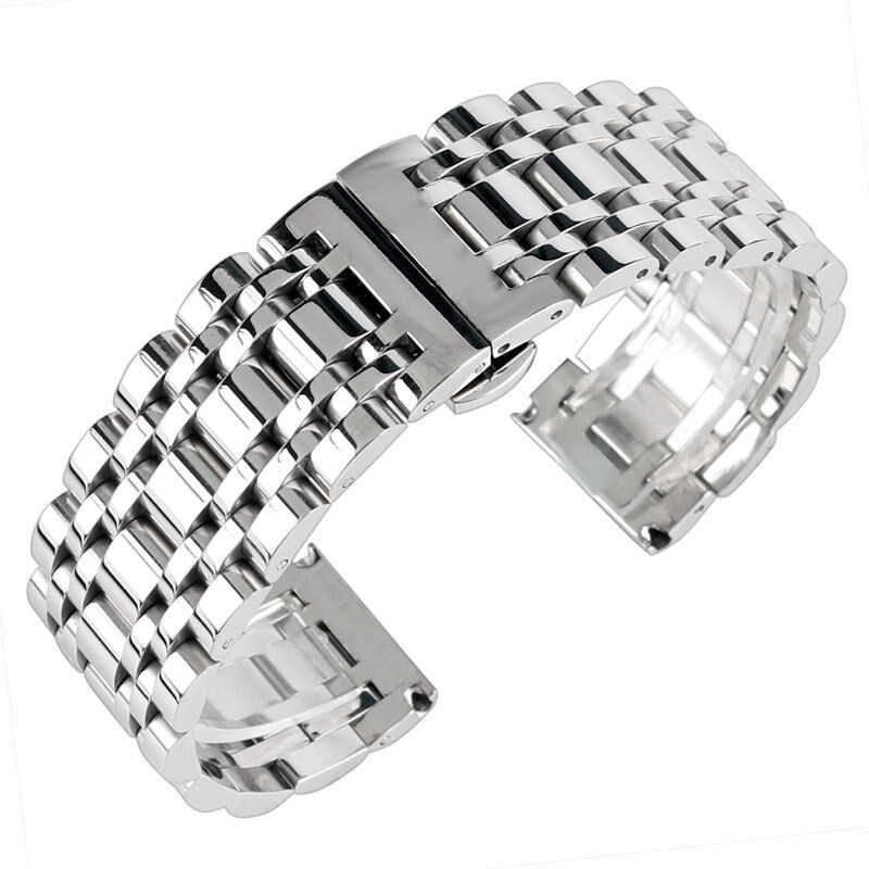Silver Band Bracelet: 20/22/24mm Bracelet Replacement Watch Band Strap Stainless