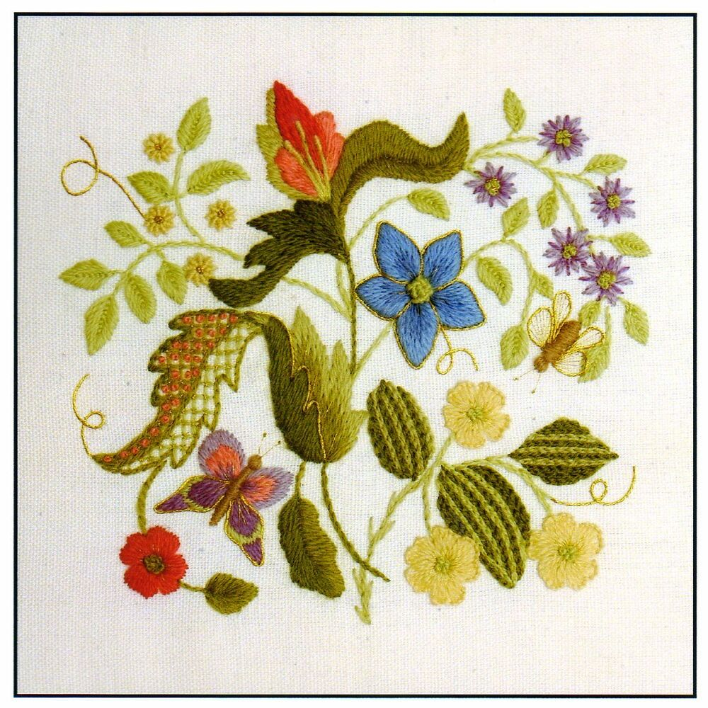 Elizabethan tile a crewel embroidery kit for beginners