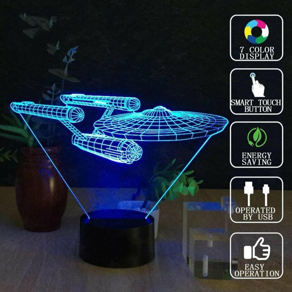 Star Trek Uss Enterprise 3d Led Night Light 7 Color Touch