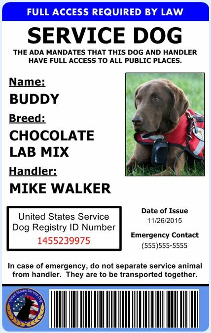 Professional Service Dog Id Card Ada Rated Comes With