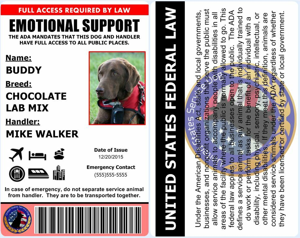 Professional Emotional Support Dog Id Card Ada Rated And