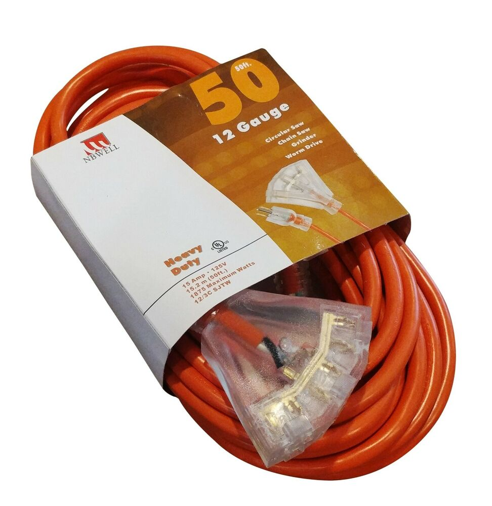 50 Foot Triple Tap 10 Gauge Extension Cord Lit Ends New 10