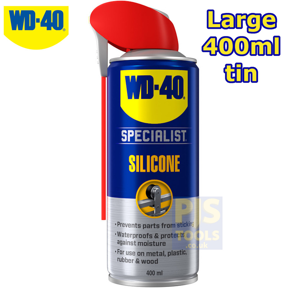 wd40 400ml silicone lubricant spray large can size wd 40 ebay. Black Bedroom Furniture Sets. Home Design Ideas
