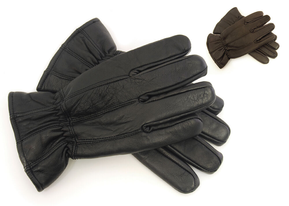laylawson® - Mens 100% Leather Thick Winter Warm Gloves | eBay