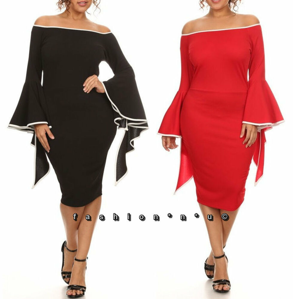 0d6ef0607c80 Details about Plus Size Off Shoulder Ruffle Bell Sleeve Bodycon Midi Dress