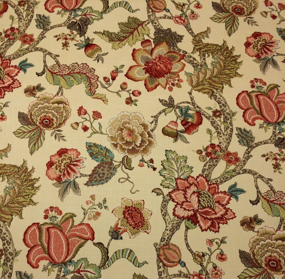 P kaufmann malawi khaki jacobean floral vine multiuse for Purchase fabric by the yard