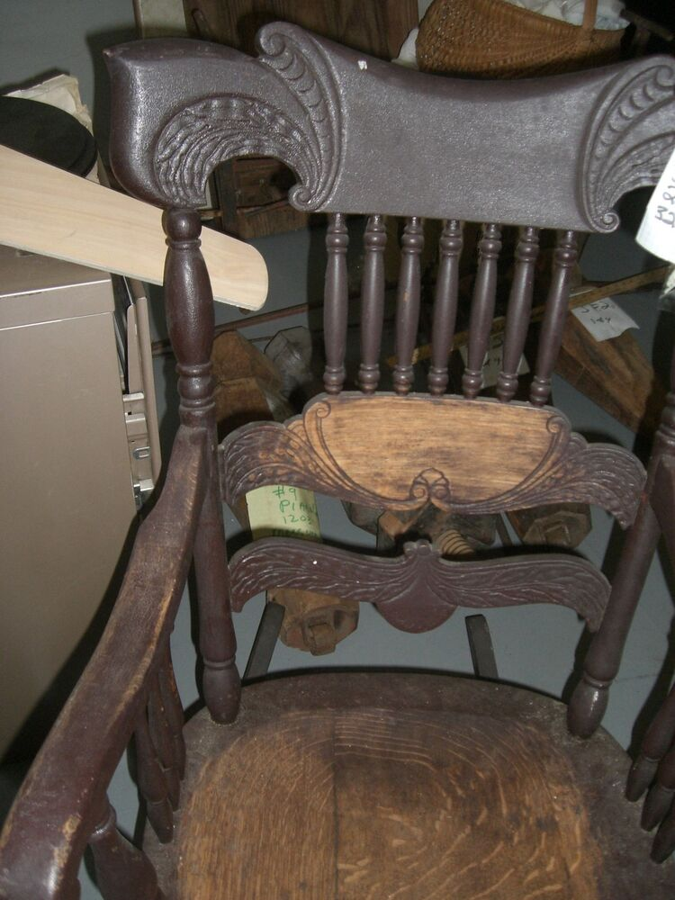 Antique Rocking rocker chair carved wing curved back turned spindles ...