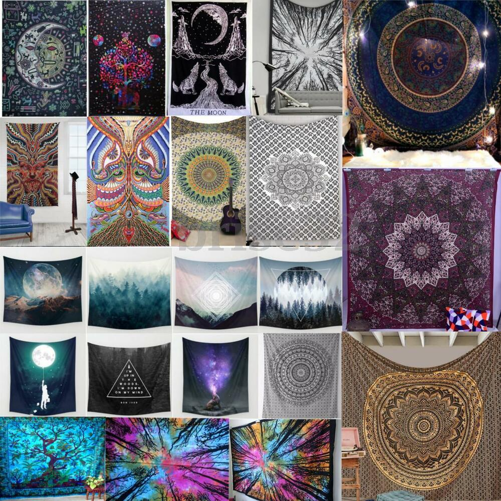 Indian mandala tapestry wall hanging hippie bohemian for Indian home decor