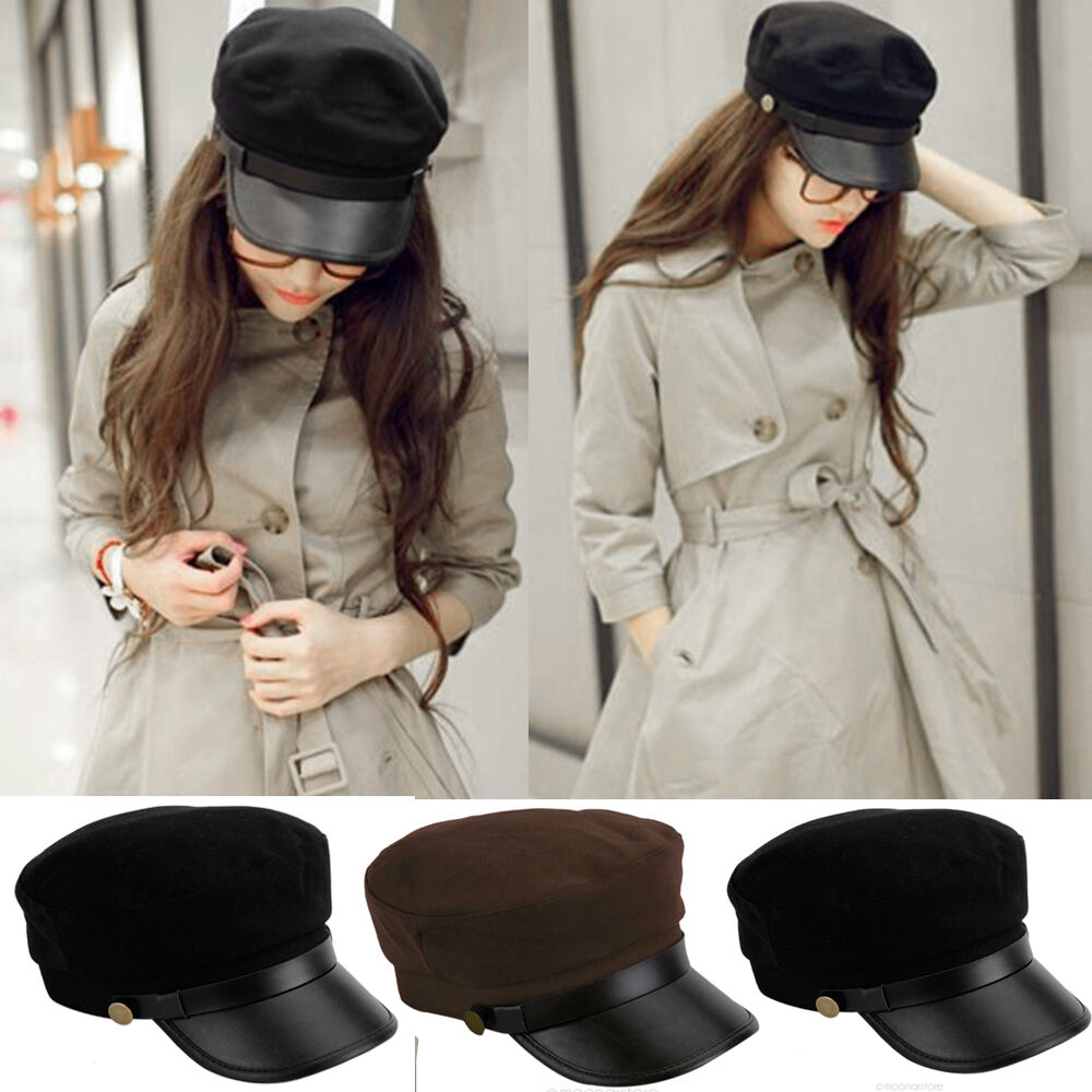 4c966cf8 Details about Cadet Military Navy Sailor Flat Top Hat Women Men Army  Leather Cap One Size Hot