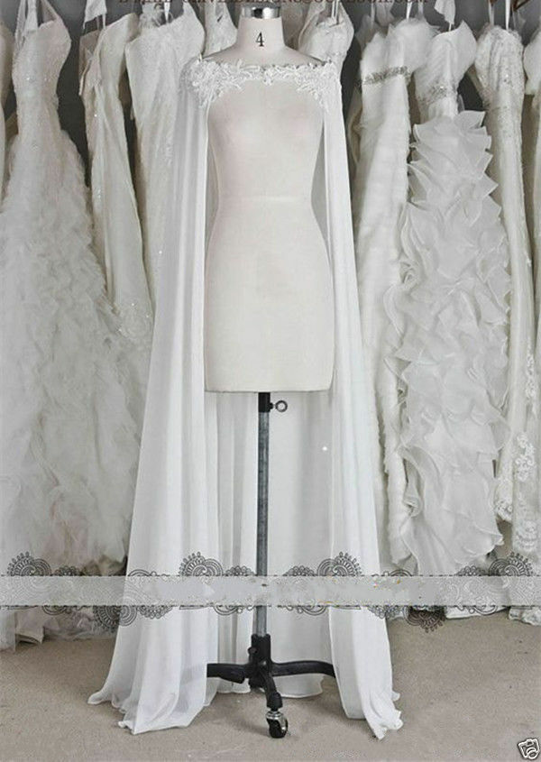 Chiffon Wraps Wedding Jackets Bridal Cloak Lace Long ...