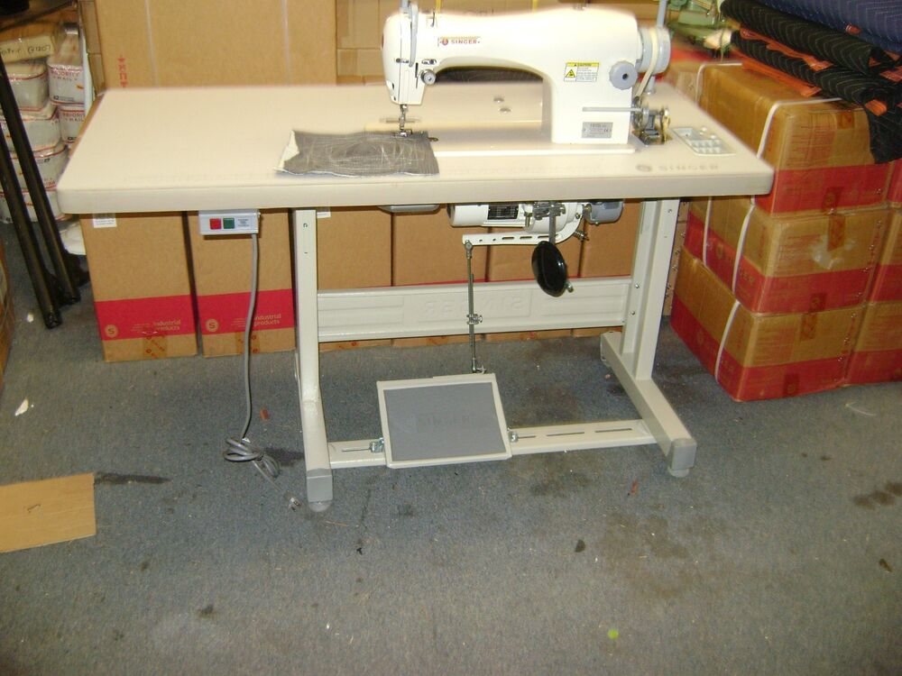 Singer 191d 30 single needle industrial sewing machine w table and 110 v motor 37431883704 ebay - Singer sewing machine table ...