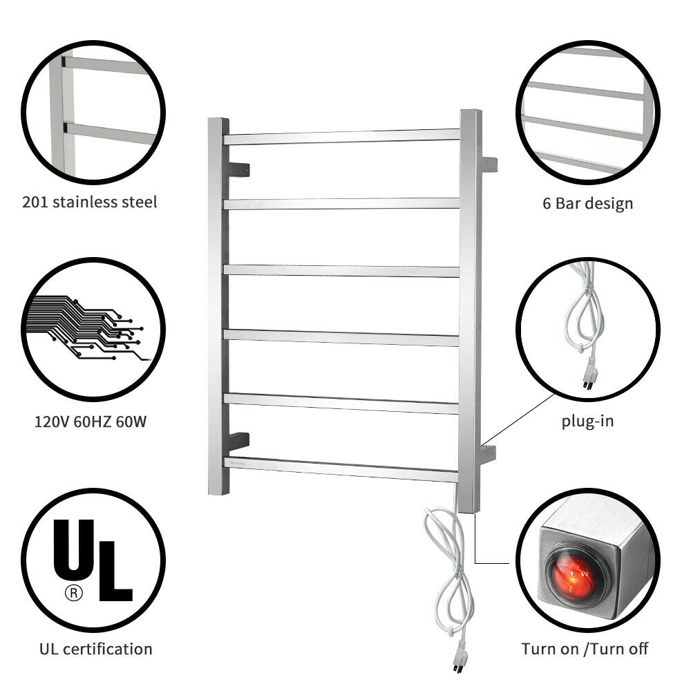 Big Size Stainless Towel Warmer Heated Towel Rack: Electric Towel Warmer With 6 Heated Towel Bars Wall