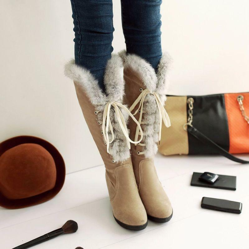 Round Toe Lace Up New Womens Wedge Boot Suede & Fur Top ...