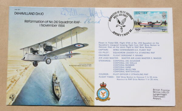 DEHAVILLAND D.H.10 REFORMATION OF No.216 SQUADRON 1984 FLOWN COVER CREW SIGNED