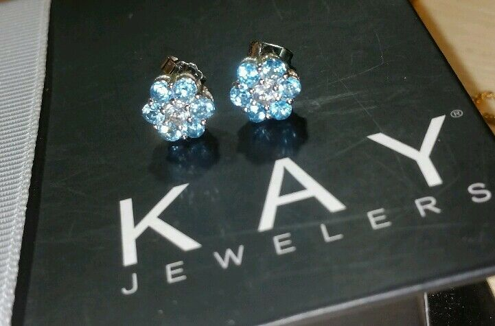 b19309df1 Details about Kays Kay Jewelers® sterling silver blue clear topaz flower  cluster stud Earrings