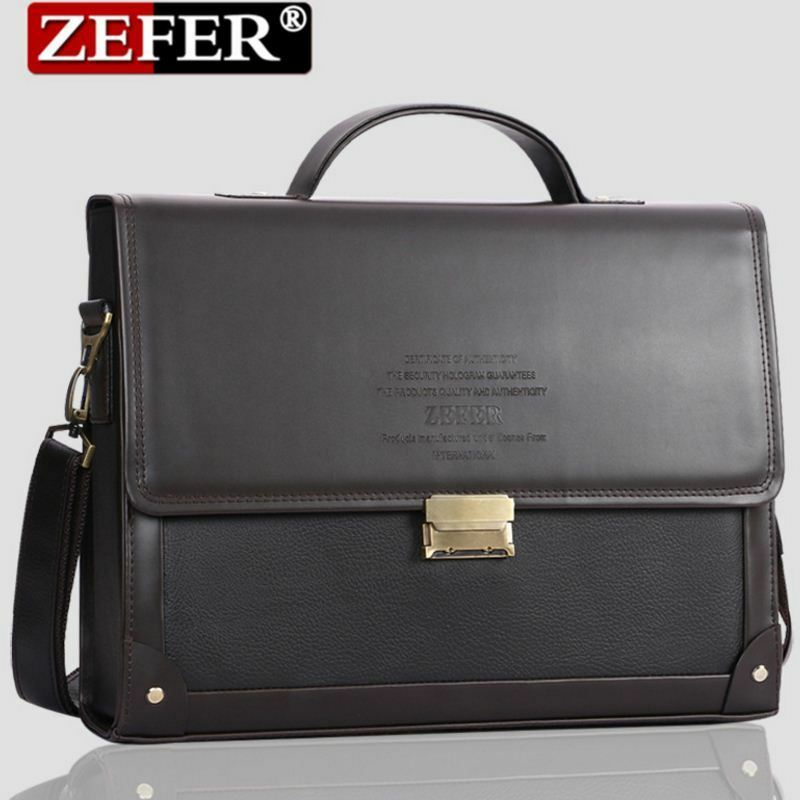 ZEFER Men Leather Lawyer Large Hard Briefcase With ...