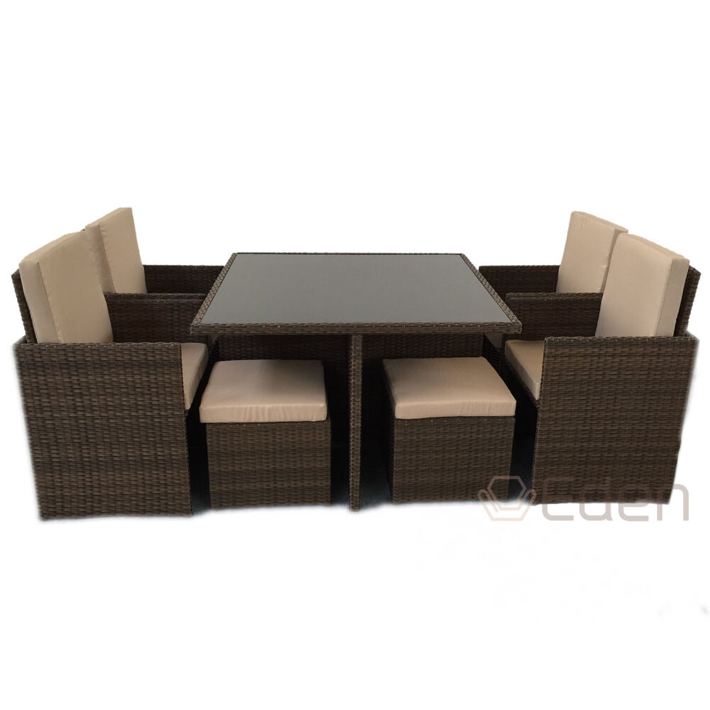 8 seater 9 piece brown rattan cube dining glass table for Garden furniture table and chairs