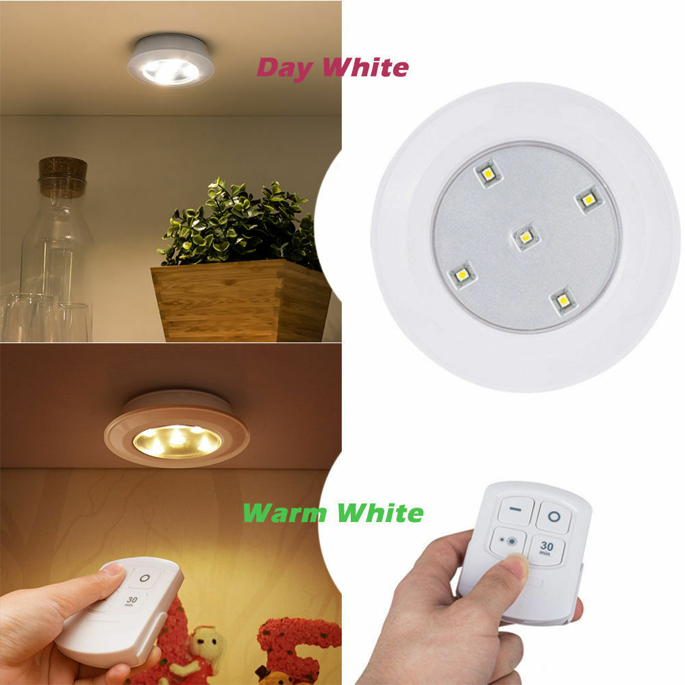 5 led battery powered under cabinet cupboard stair light lamp remote control ebay. Black Bedroom Furniture Sets. Home Design Ideas