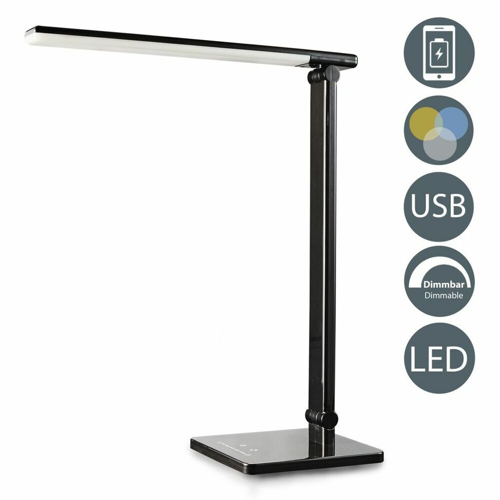 led tischlampe schwarz dimmbar usb leselampe tisch leuchte schreibtisch lampe ebay. Black Bedroom Furniture Sets. Home Design Ideas