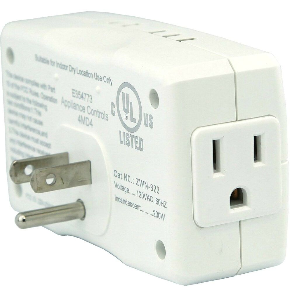 enerwave z wave outlet wireless control plug in dimmer switch module white ebay. Black Bedroom Furniture Sets. Home Design Ideas
