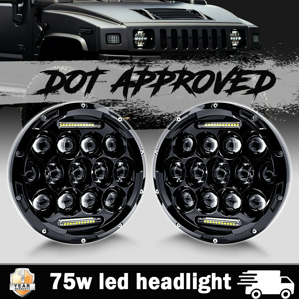 Pair 7 Inch 75W LED Headlight Hi/Low Beam Driving Fog DRL Lamp for Hummer H1  H2 686603523476 | eBay