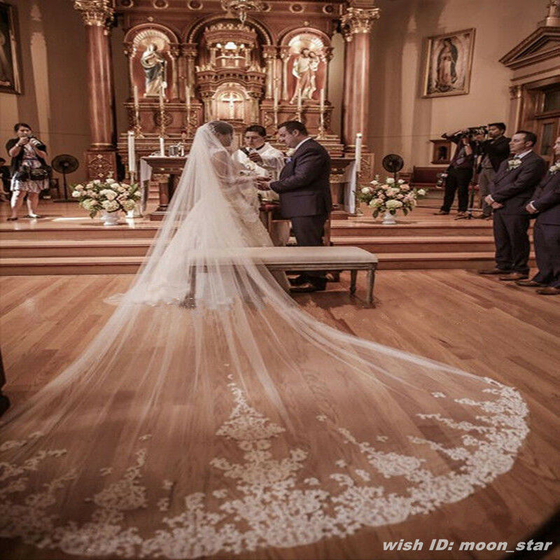 """Luxury 157"""" Long, 118"""" Wide Lace Wedding Veils Cathedral"""