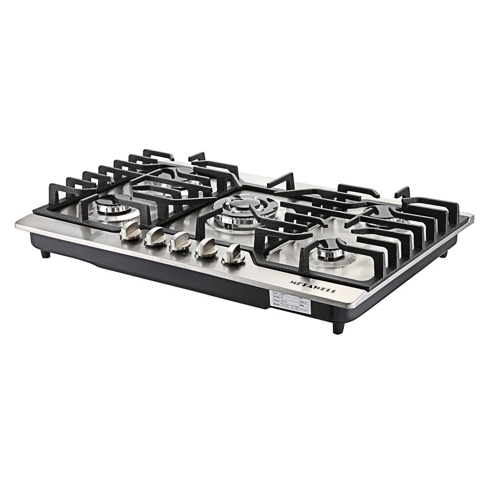 "5 Burner Gas Cooktops: METAWELL 30"" Stainless Steel 5 Burner Built-in Stoves LPG"