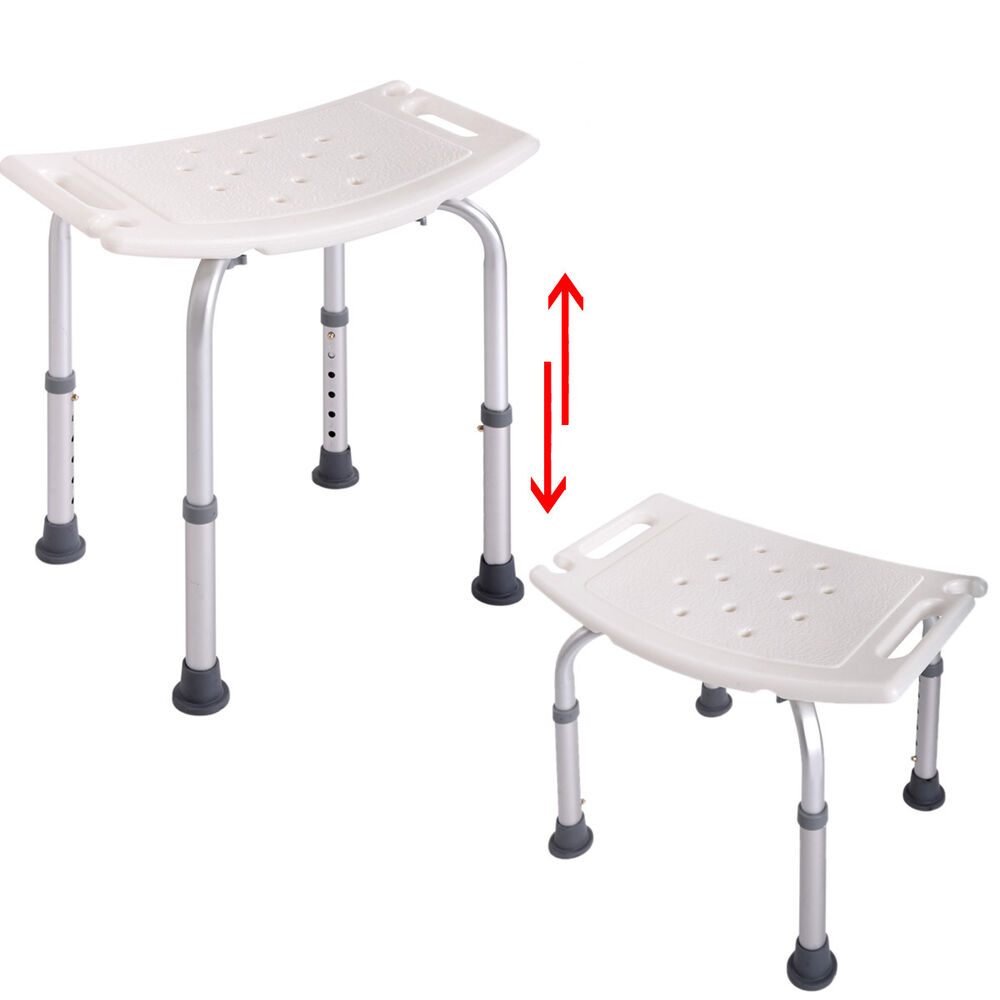 Bath Shower Chair Adjustable Medical 6 Height Bench Bathtub Stool Seat White New Ebay