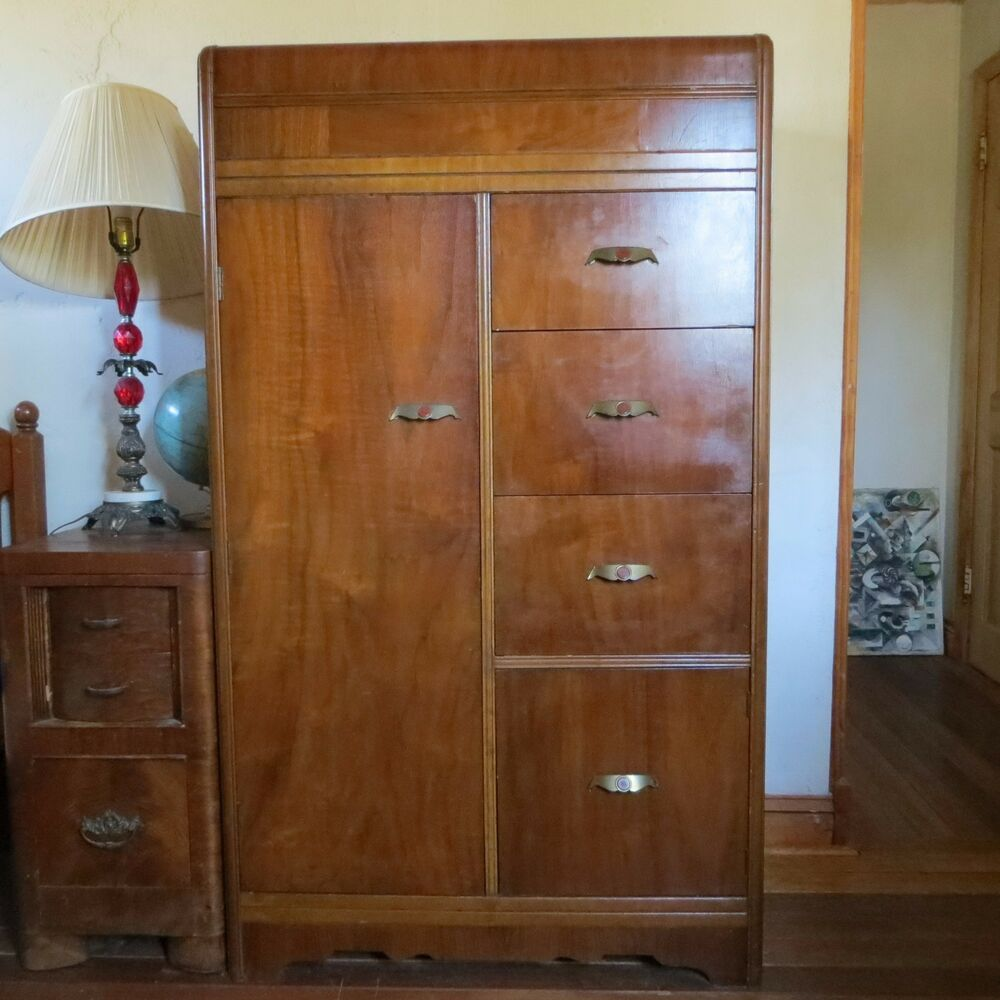 vintage art deco waterfall chifferobe armoire chifforobe wardrobe ebay. Black Bedroom Furniture Sets. Home Design Ideas