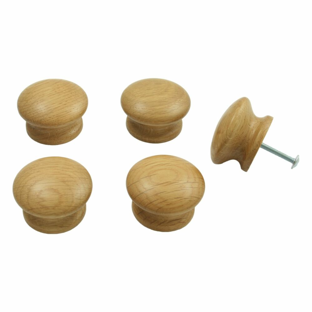 5 X Oak Wooden Door Drawer Knobs Kitchen Cupboard Cabinets 44mm Diameter
