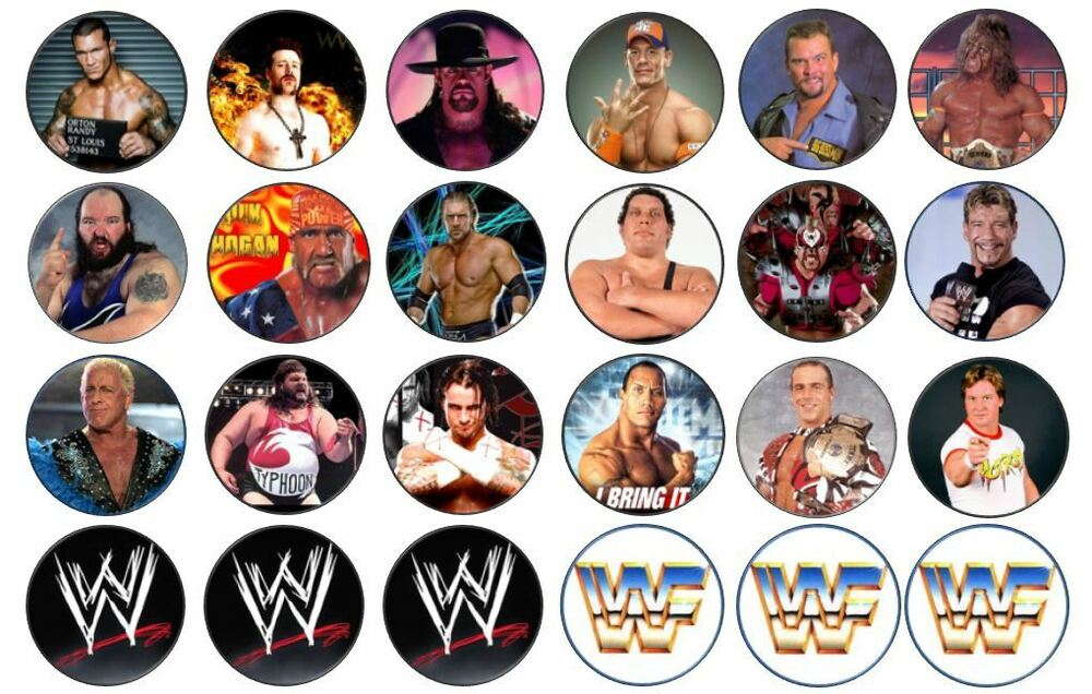 48 x 3cm WWE Wrestling Cup Cake Toppers Edible Rice Paper ...